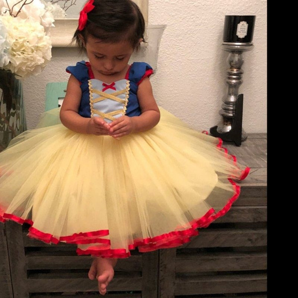 ede47f49148 Snow White Princess Tutu Dress Bow Girls Baby Dress Halloween Birthday Party