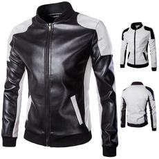 Jacket, slimjacket, leather, blackampwhite
