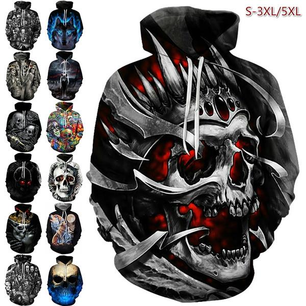 Plus Size, skull, unisex, wolfhoodie