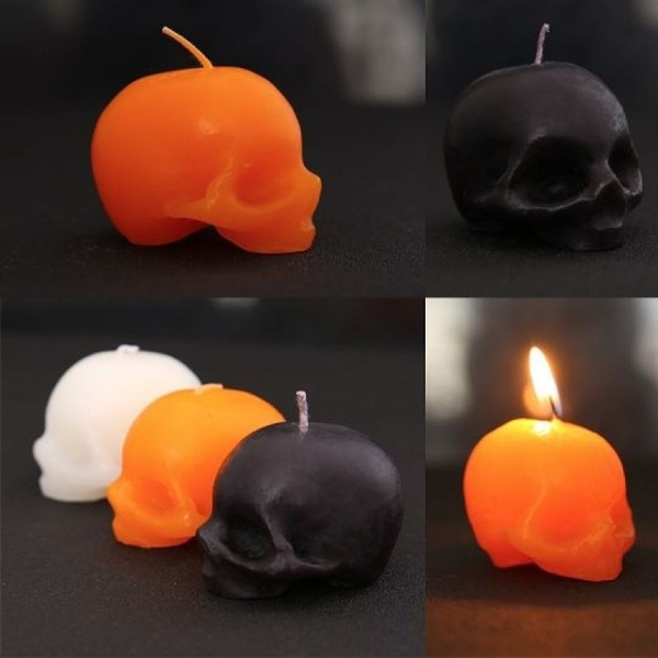 Handmade skull candle made from paraffin wax