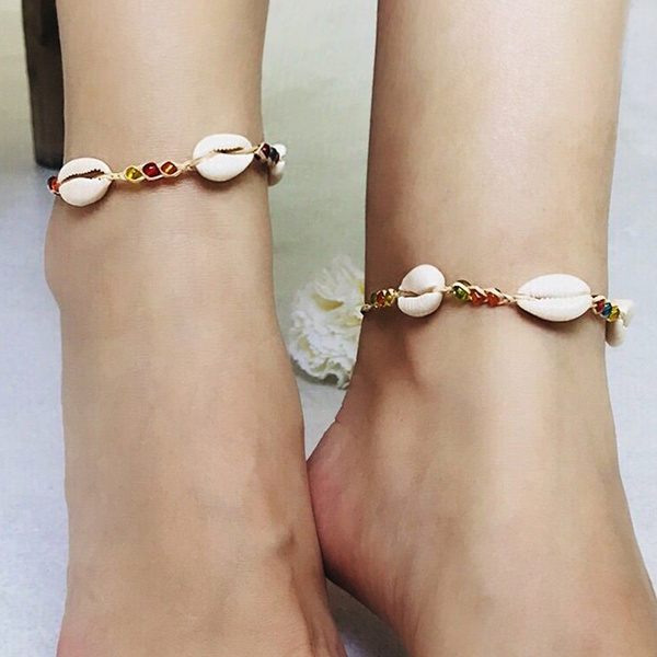 1914f629686e5 Bohemian Charm Natural Seashell Beaded Woven Anklet Bracelet for Women  Girls Beach Casual Summer Jewelry