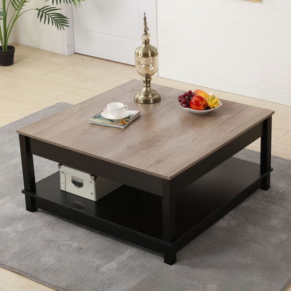 Modern Square Coffee Table Living Room Furniture Carver Storage