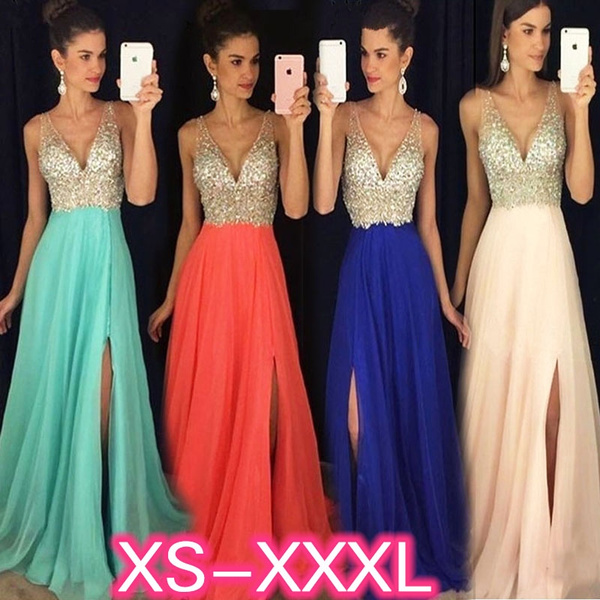 2ba099d73ea47 Fashion Women Deep V Neck Backless Sleeveless Sequins Maxi Dresses Elegant  Swing Prom Party Bridesmaid Wedding Dresses Sexy Evening Gowns (XS-3XL)