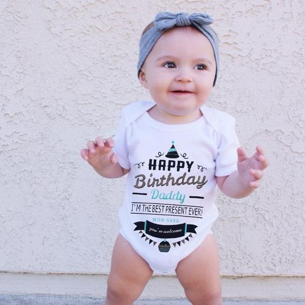 Daddysbirthday Happybirthdaydaddy Babyromper Gifts