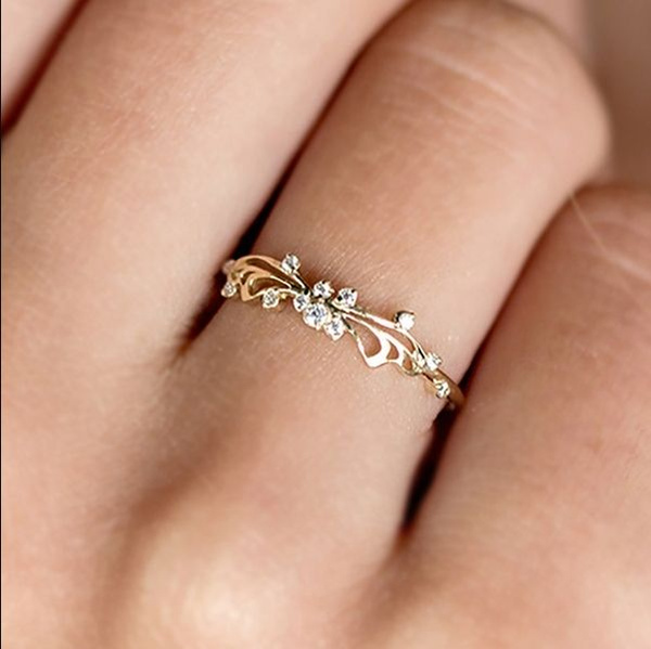 New Zircon Butterfly Wings Ring Wedding Engagement Anniversary