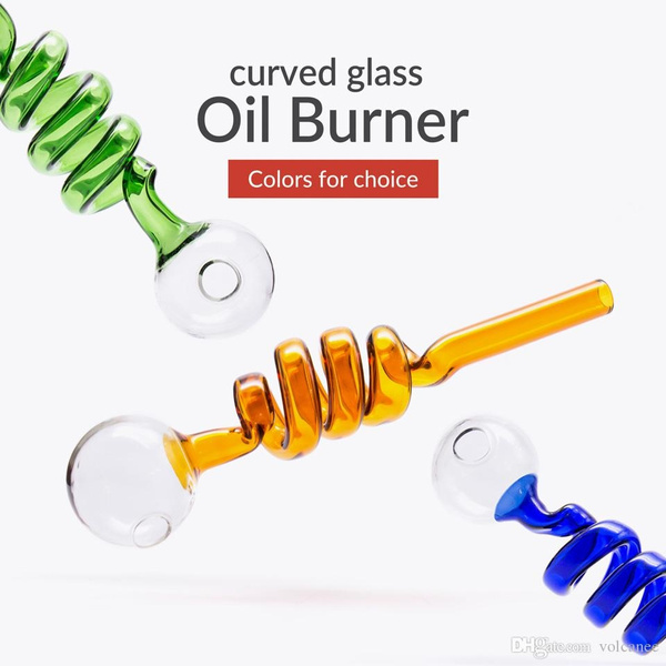 Thick Pyrex Colorful Glass Oil Burner Pipe with 10cm Glass Hand Pipes Oil  Burner Bubbler for Smoking