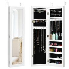 wallmounted, Door, Jewelry, mirroredjewelrycabinet
