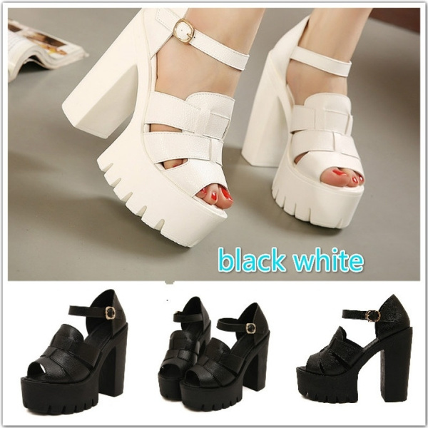 e79a087f3c4 Fashion New Summer Wedges Platform Sandals Women Black and White Open Toe  High Heels Female Shoes