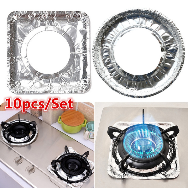 10pcs Kitchen Gas Stove Oil-proof Foil Paper Pad Burner Protective Liner Cover