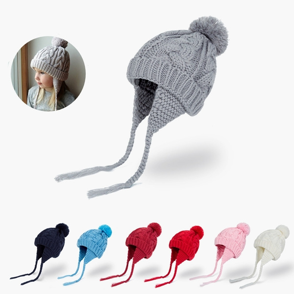 07bcde70ffc916 New Baby Pom Pom Winter Hat For Boys Girls Ball Hat Kids Warm ...