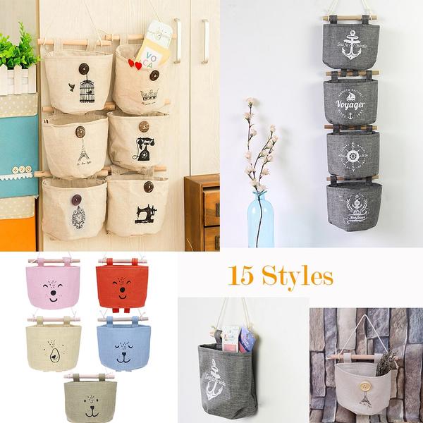 cottonbag, wallmounted, fabriccottonpocet, Storage
