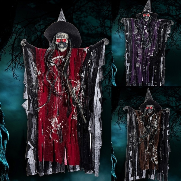 Halloween Prop Hanging Ghost Witch Scary Voice Haunted House Bar Party Home  Decoration 63x38cm