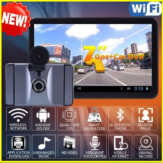 7 inch Car DVR GPS Navigation Android Radar Detector 1080P DVR 8GB Truck  vehicle gps navigator navitel With Free Maps Surf The Internet Tablet  E-Book