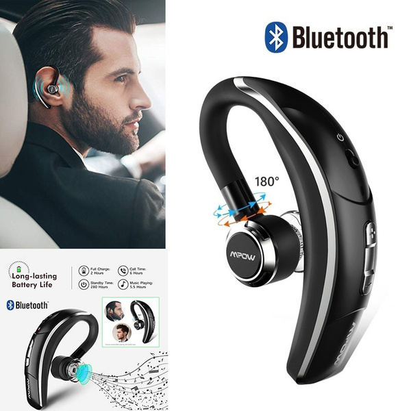 6-Hrs Playing Time Cell Phone Bluetooth Earphone Wireless Headset with Function Microphone-Mute Car Bluetooth Headset for iPhone Samsung Android Mpow Bluetooth Headset Silver