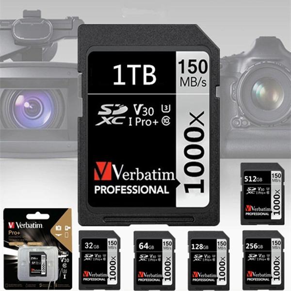 Verbatim PRO 1TB SDHC Card Camera Memory Card 32GB 64GB 128GB 256GB 512GB  1TB Flash Memory Card Class 10 SDXC SD Card 1000x C10 150MB/s UHS-1/U3
