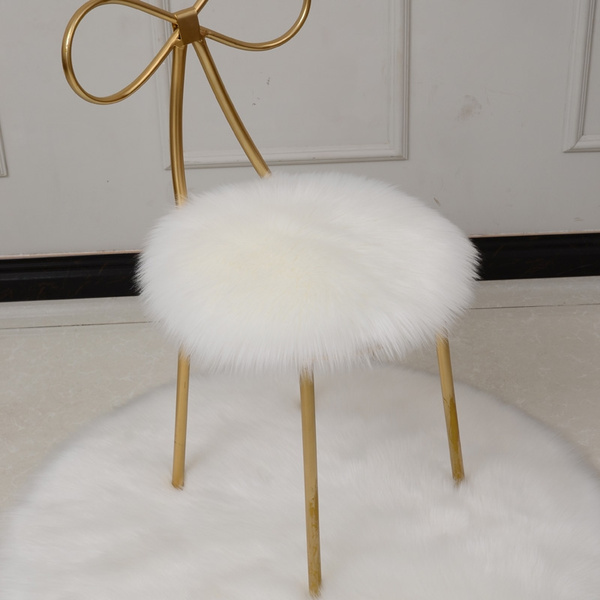 Fabulous Round Long Fur Cushion Faux Sheepskin Wool Furry Warm Chair Seat Pads Mat Home Decor Pabps2019 Chair Design Images Pabps2019Com