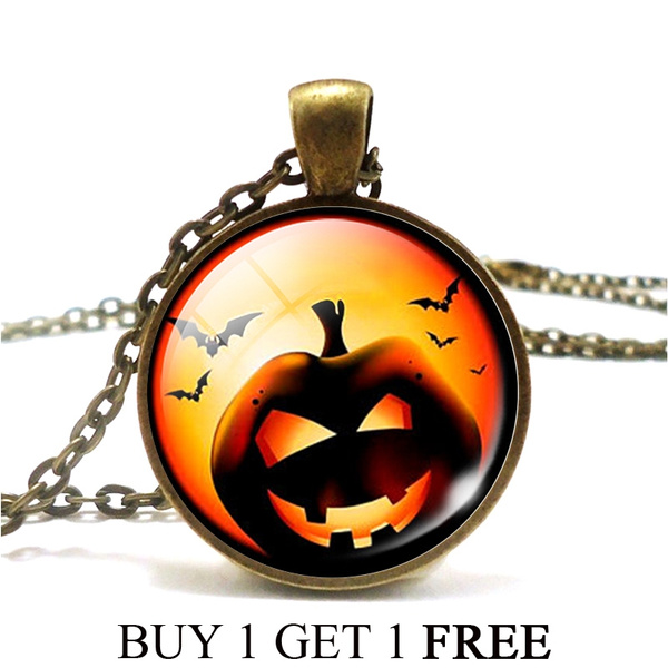 Buy one get one Vintage  Cabochon Glass  Bronze  Chain Pendant Necklace
