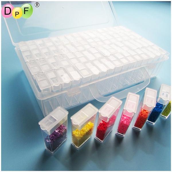 64Grid Diamond Embroidery Painting Tools Plastic Jewelry Bead Drill Storage Box