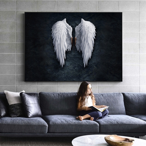 Anime Angel Wings Wall Art Canvas Prints Feather Ground Creative Paintings On The Picture For Living Room Decor No Frame