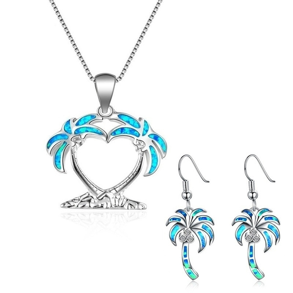 Sunny Beach Coconut Tree Style Blue Fire Opal Silver Plated Pendant Necklace And Earrings Jewelry Set For Women S Wedding Party Valentines Day Gift