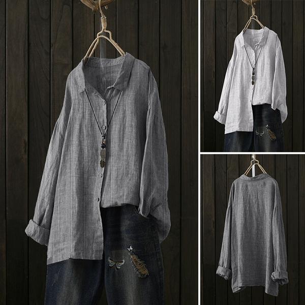 Turn-down Collar, Plus Size, women39sfashion, Sleeve