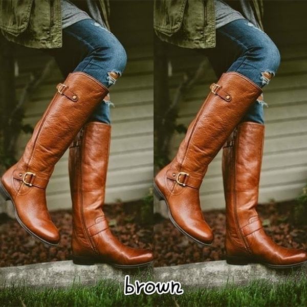 527601114d7 2018 Fashion Women Winter Shoes Flat Heel Solid Color Long Boots Pointed  Toe Knee High Ladies Boots Leather Stitching Casual Girl Cute Flats Boot ...