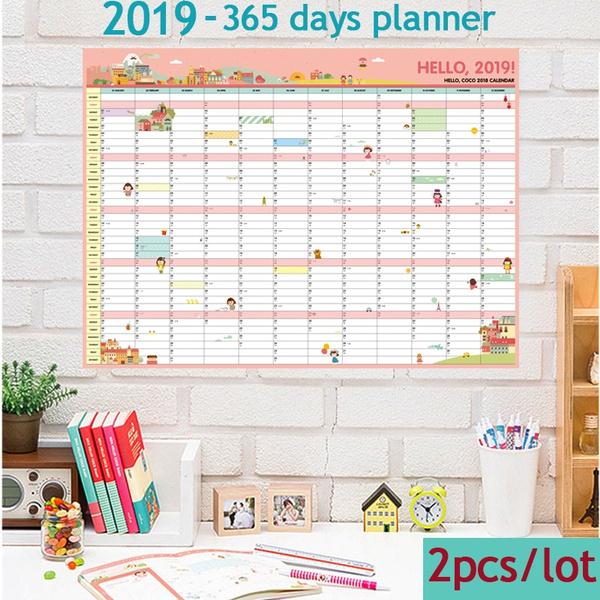 2pcs/lot 2019 Calendars 365 Day Planner Annual Schedule Efforts Ideas Plan  Book Cute Kawaii Cartoon Desk Wall Calendar School Office Supplies Gift