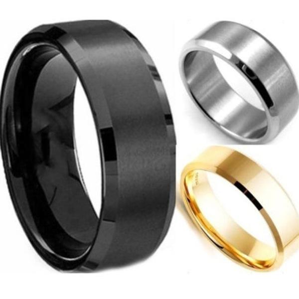 Steel, Men, wedding ring, gold
