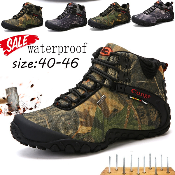 978991c395d Men Hiking Shoes Waterproof Canvas hiking Boots Trekking Anti-Collision  winter snow keep warm boots Camouflage Anti-skid Wear Resistant Breathable  ...