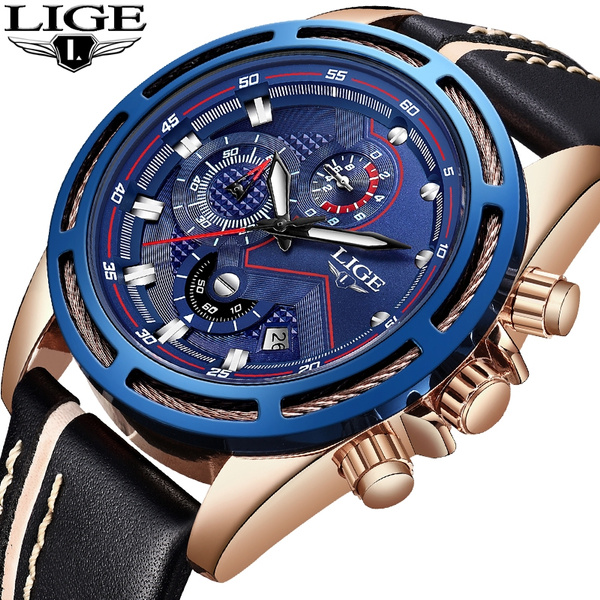 dc4d9e760d3 LIGE New Mens Watches Top Brand Luxury Quartz Watch Men Calendar ...