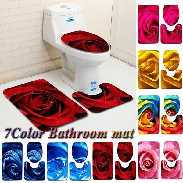 Sensational Bathroom Mat Set Toilet Shower Rug Soft Red Rose Pattern 3Pcs Set Carpet Cover Machost Co Dining Chair Design Ideas Machostcouk
