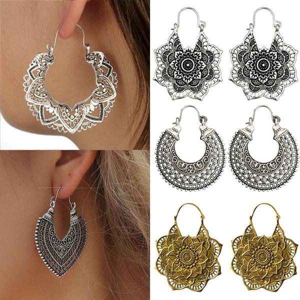 Boho Style Hoop Ear Studs Hollow Out Flower Dangle Drop Earring Ancient Silver