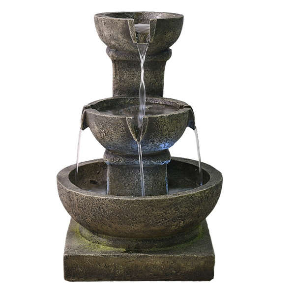 Cascading Water Fountains Outdoor.Waterfall Fountain Relaxation Cascading Water Decoration For Outdoor Patio Or Garden Use Zen Fountain With Led Lights