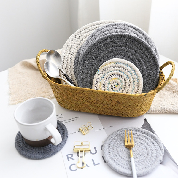 Placemats Cotton Linen Dining Room Table Mat Heat Insulation Pad Kitchen Coaster