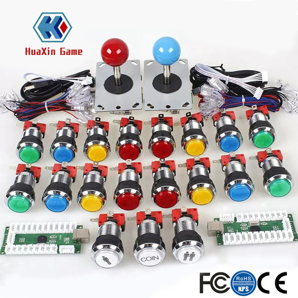 Arcade DIY Kit USB Encoder to Joystick + Chrome Plating LED Illuminated  Push Button 1&2 Player Coin Button For Mame Raspberry pi