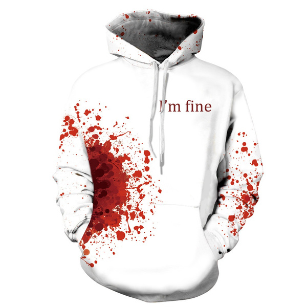 on feet at to buy later I'm Fine Horror Wound 3d Hoodies Men Women Plus Size Cosplay ...