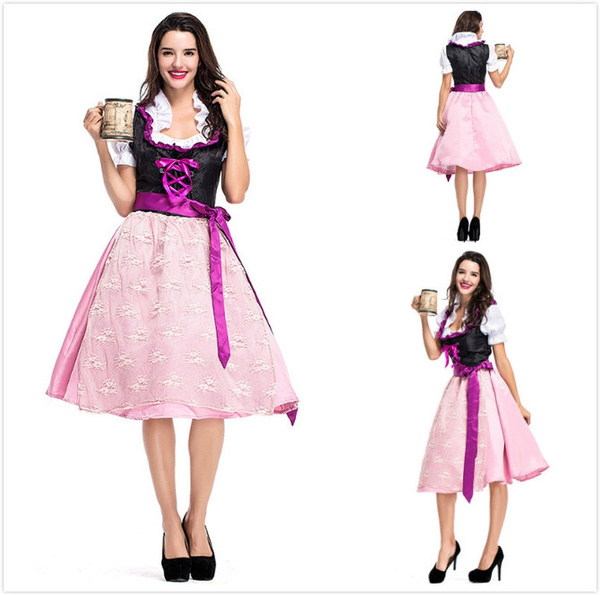 406749d64de Women Sexy Pink Bavaria Oktoberfest Costume Germany Tradition Costume  Oktoberfest Beer Girl Costume Bavarian Dirndl Dress