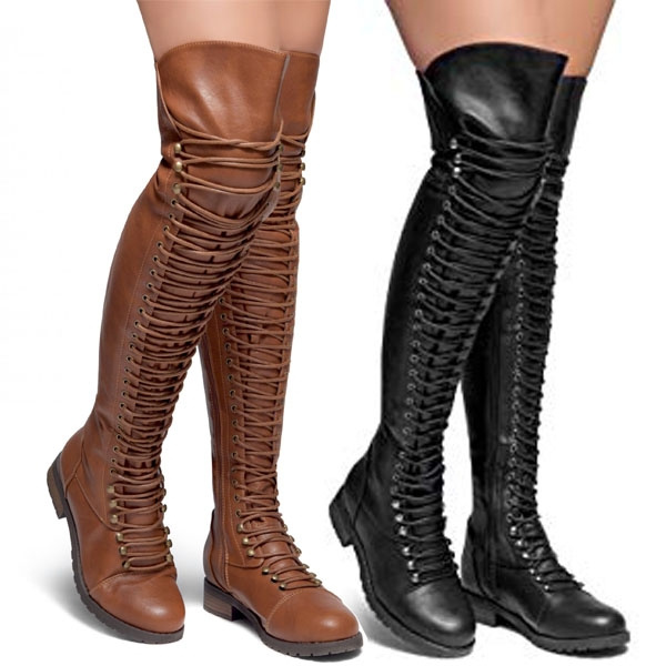 High Boots Thigh Over The Women Military Lace Up Boot Knee Combat Nw0Ok8XnP