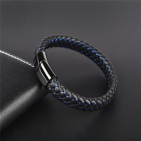 New Men Jewelry Punk Black Blue Braided Leather Bracelet For Men Stainless Steel Magnetic Clasp Fashion Bangles Gifts by Wish