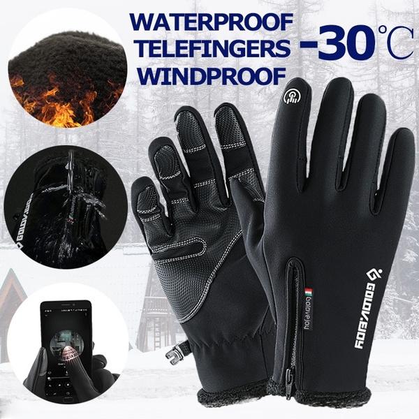 Touch Screen Windproof Waterproof Outdoor Sport Unisex Winter Warm Gloves Black