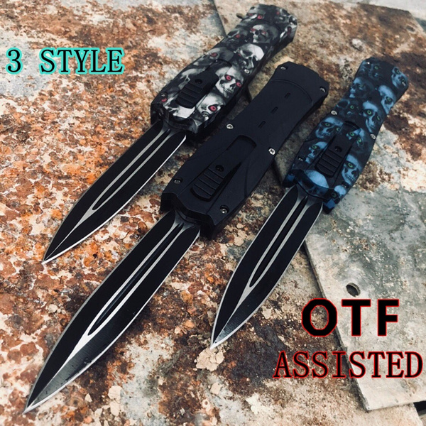 HOT ! OTF TACTICAL GEAR SURVIVAL KNIFES Spring Assisted Opening Knives  Finger Actuator Tanto Blade Camping EDC Tools Pocket Dagger Rambo