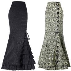 Mermaid dress, long skirt, Fashion, ruffle