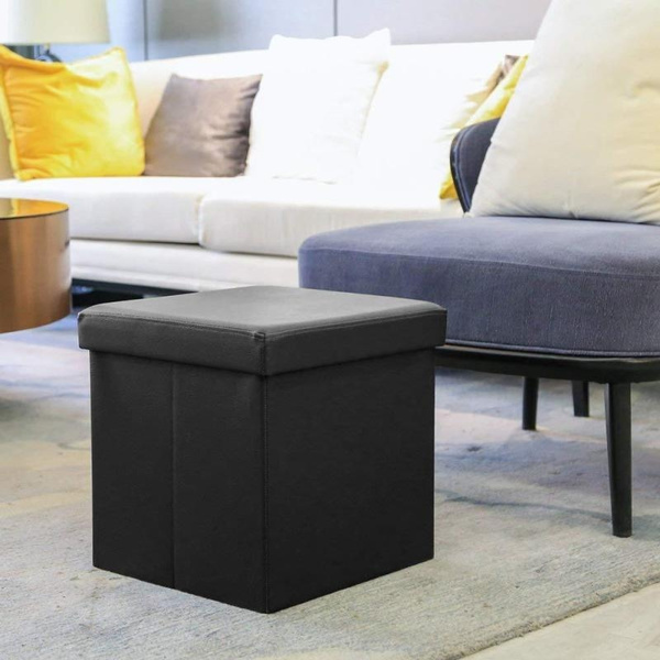 Marvelous Fnsun 38Cm Faux Storage Ottoman Cube Foot Rest Bench Seat Folding Leather Simple Space Saving Black Stool Gmtry Best Dining Table And Chair Ideas Images Gmtryco