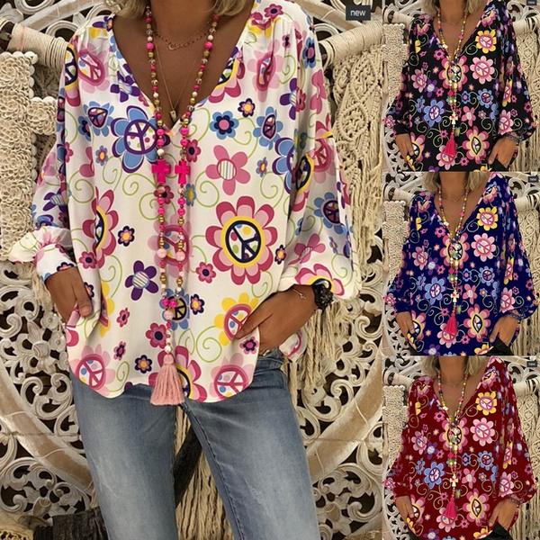 blouse, Plus Size, Long Sleeve, V-neck
