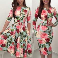 Swing dress, shortminidres, Sleeve, floralprintdres