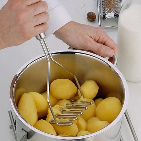 Fruit Crushing Shape Stainless Steel Potato Masher Tool Kitchen Wave