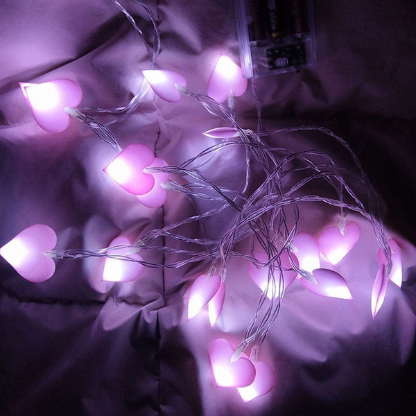 1pc Battery Operated Cloth Fairy Lights Love Heart Shaped Led String For Home Birthday Party Wedding Decoration Wish