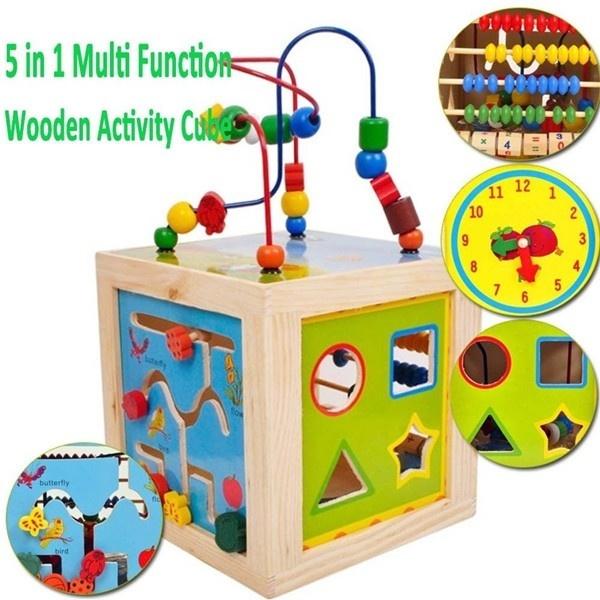 Kids Children Multi Function Wooden Activity Cube 5 In 1 Puzzle Clock Bead Maze U5b9zhh4338e4