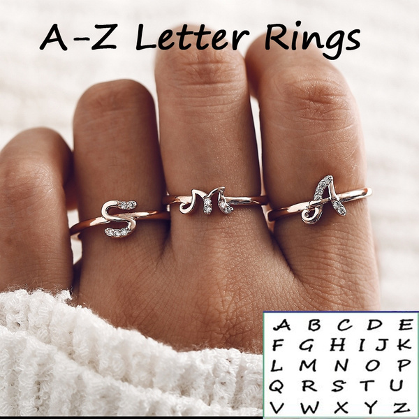 Gifts For Her, initialring, crystal ring, letterring