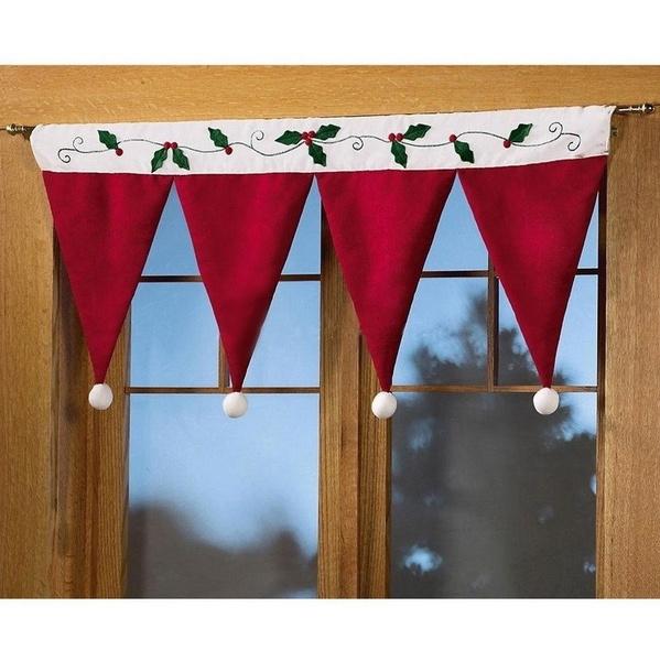 christmascurtain, santaclaushatscurtain, Christmas, Santa Claus